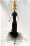 Lady/ Black Dress Feather